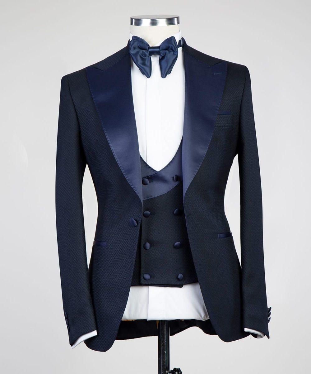 The Morgan Navy Jacquard  Dinner Tuxedo